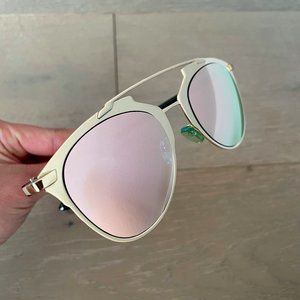 Pink Mirrored Gold Frame Aviator Sunglasses